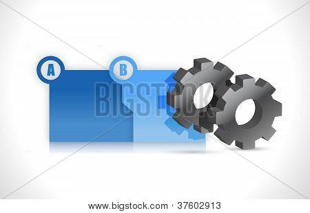 Progress Steps Folders Plus Gears Illustration