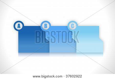 Blue Progress Step Folders Illustration Design