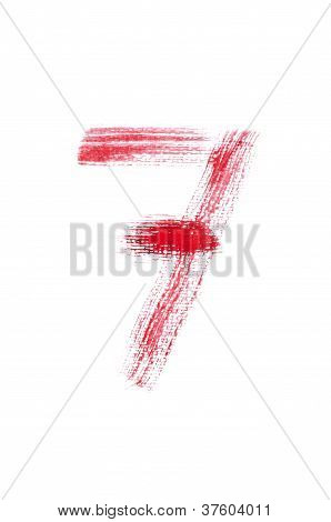 Red Watercolor Number