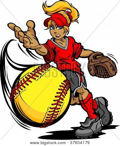 Fastpitch Softball Player Pitching Fast Pitch Softball  Vector Image