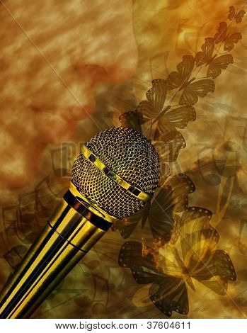 Vintage music background with microphone