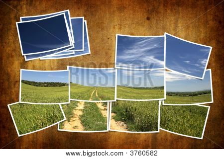 Postcard Tile With Summer Landscape Over Grunge Background