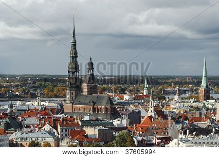 Panoramic view from the Saint Peter cathedral on the center of Riga - capital of Latvia, Europe