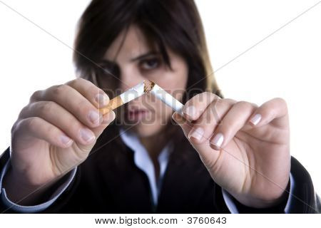 Woman Breaking Cigar Isolated On White Anti tobacco Concept