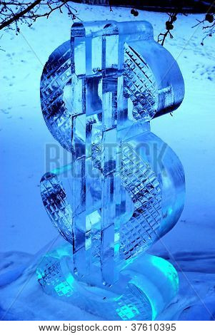 ice sculpture of dollar