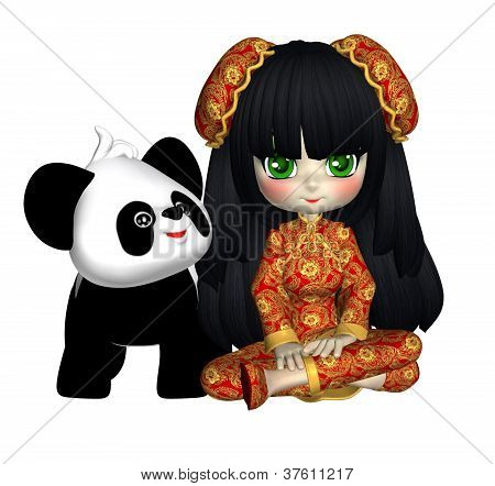 China Doll With Panda