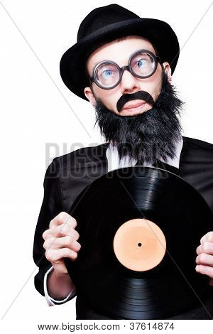 Sixties Retro Rock Man Holding Music Record Vinyl