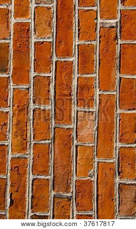 Wall Built Of Red Brick Architectural Details.