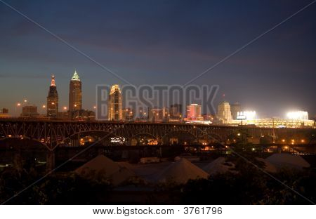 Cleveland Nacht skyline