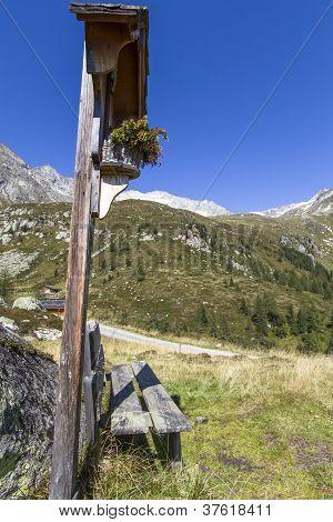 Wayside shrine in the north italian alps