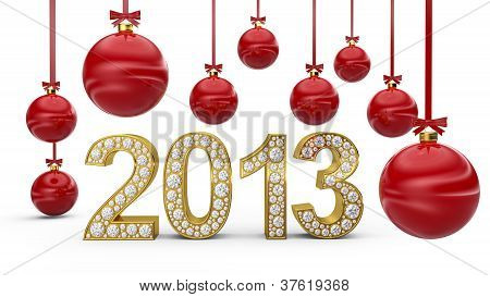 Golden 2013 With Christmas Balls