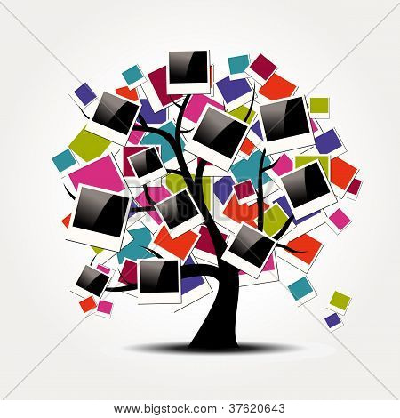 Speicher-Stammbaum mit Polaroid-Foto-Rahmen