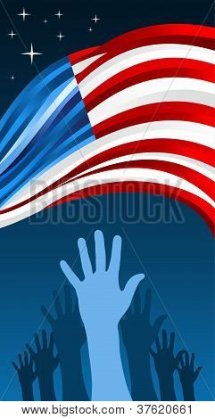 Usa Elections Hands With Waving Flag