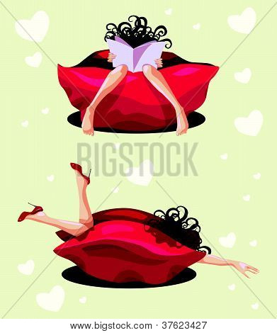 Woman rest in a red pouffe