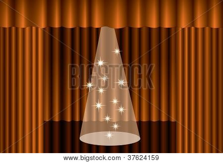 Gold Theater Curtain With Spotlight On Stage, Eps10