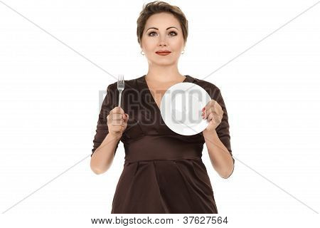 Woman Holding Dish And Fork