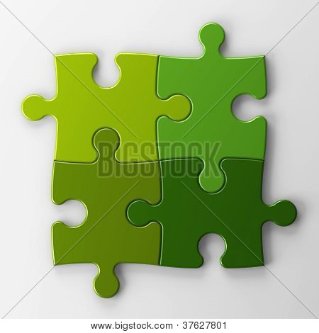 Four Puzzle Pieces With Clipping Path  To Place Concepts