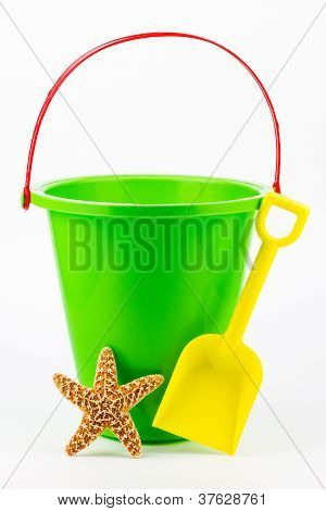 A Sand Bucket, Shovel, And Starfish.
