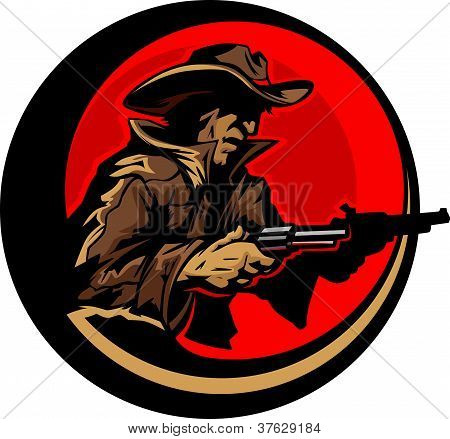 Cowboy Profile Aiming Guns Mascot Illustration