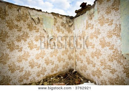 Ruined Walls With Retro Wallpaper