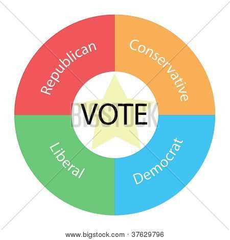 Vote Circular Concept With Colors And Star