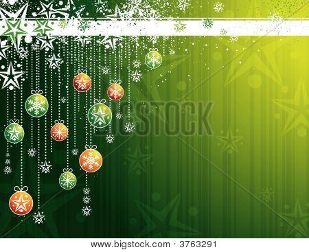 Green Christmas Card, Vector