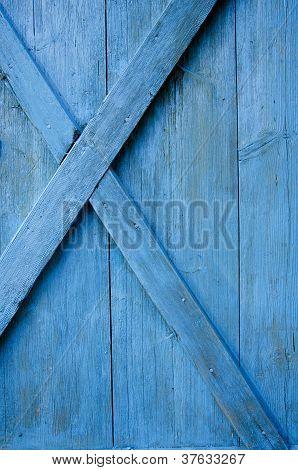 Farm  Blue Painted Door Wooden Background