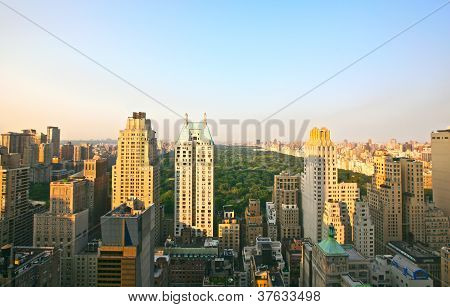 Manhattan and Central Park views at sunset, New York