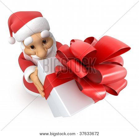 Santa Claus with a gift, top view fish-eye,