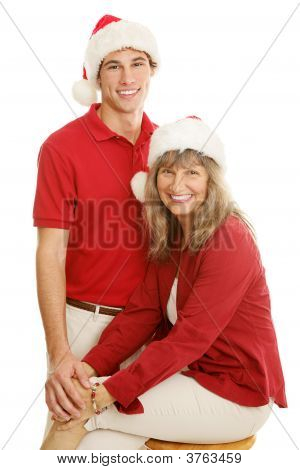 Mom And Son Christmas Portrait