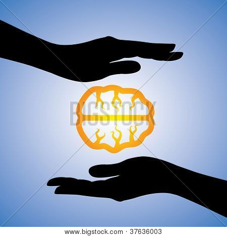 Concept Illustration Of Protecting Human Knowledge. The Graphic Contains Girls Hands Silhouette Cove