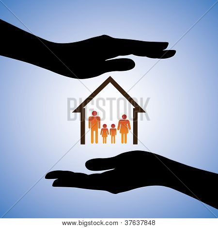 Concept Illustration Of Safety Of House And Family. The Graphic Contains Symbols Of Home/residence A