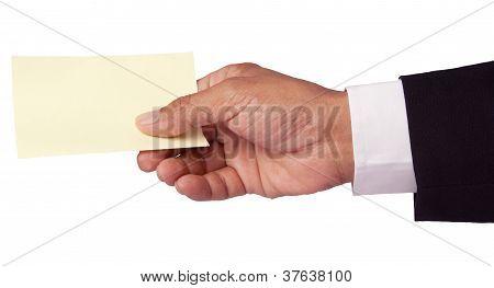 hand of business man and shot note paper