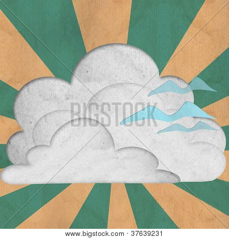 paper cut of white cloud and polar sky ray and brid flying