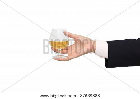 Give beverage for some business on white background.