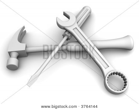 Spanner, Screwdriver, Hammer. Tools