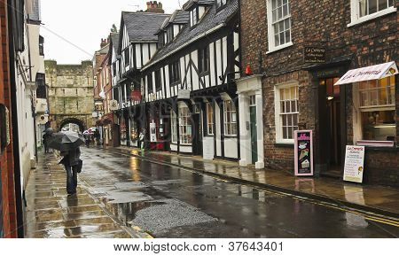 A Rainy High Petergate Scene, York, England