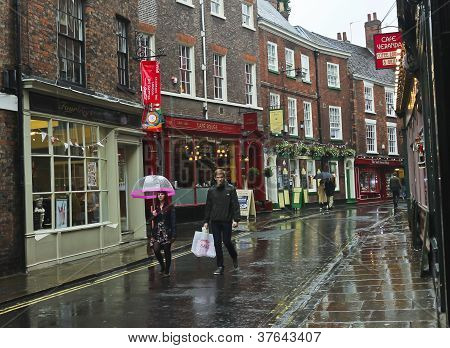 A Rainy Low Petergate Scene, York, England
