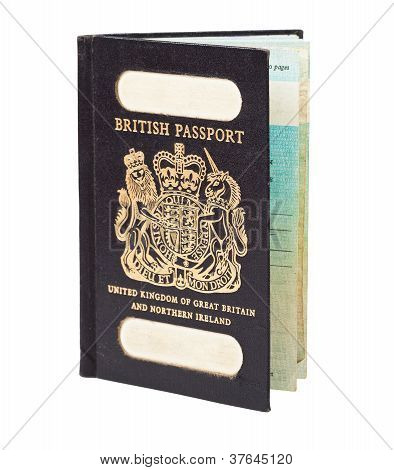 Old British Passport Isolated On White