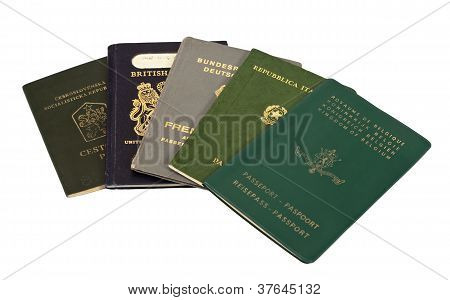 Old International Passports Isolated On White