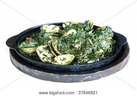 Isolated Enamel Venus Shell Stir-fried With Sweet Basil