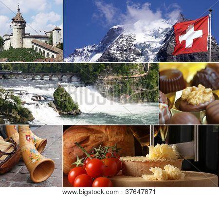 Switzerland Landmark Collage