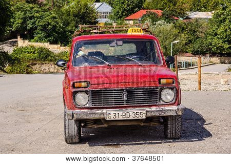Old red taxi