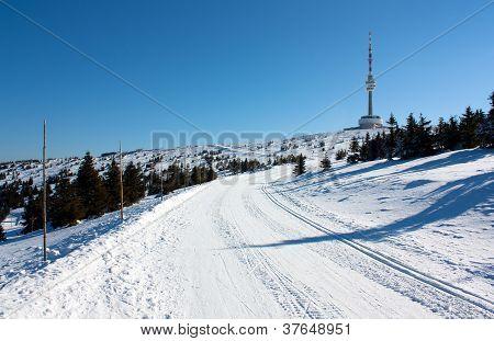 ski trail on jesenik mountain and television transmitter praded - czech republic