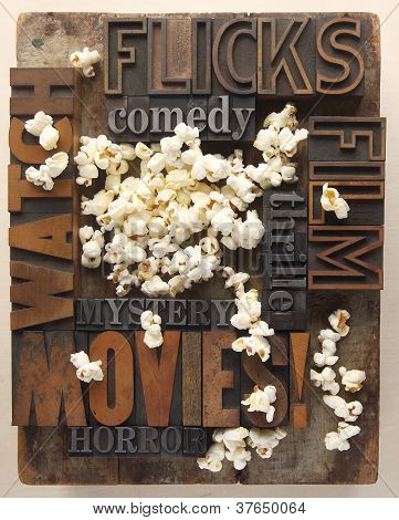 words related to movies with popcorn