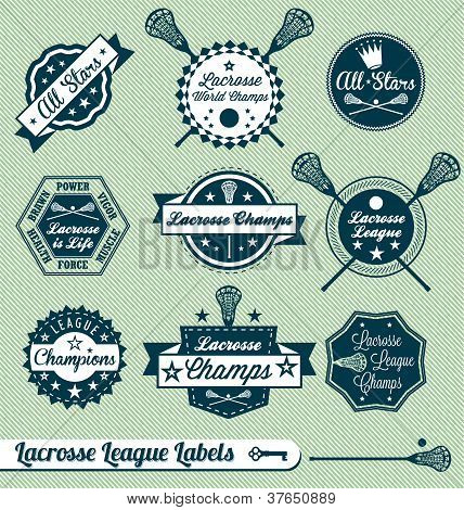 Vector Set: Vintage Style Lacrosse Labels and Stickers