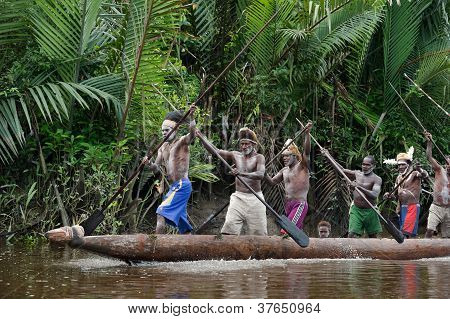 Canoe war ceremony of Asmat people.