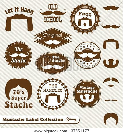 Vector Set: Vintage Mustache Labels and Stickers