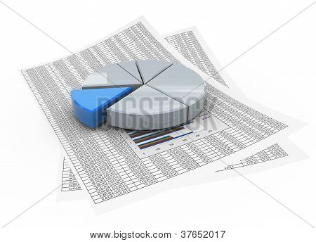 3D Pie Chart On Financial Paper