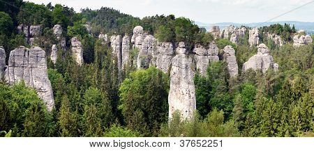 panoramic view of sandstone rockies and wood in cesky raj